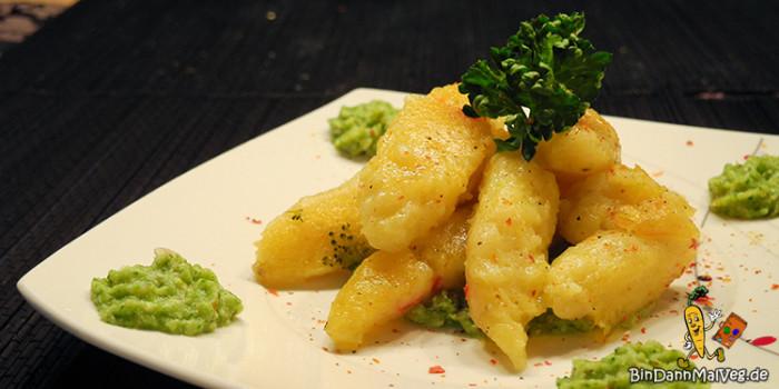 Vegane Chili-Schupfnudeln mit Broccoli-Cashew-Creme
